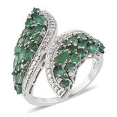 Kagem Zambian Emerald, White Topaz Platinum Over Sterling Silver Ring (Size 8.0) TGW 2.955 cts.