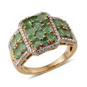 Kagem Zambian Emerald, Diamond 14K YG Over Sterling Silver Ring (Size 7.0) TDiaWt 0.01 cts, TGW 2.790 cts.