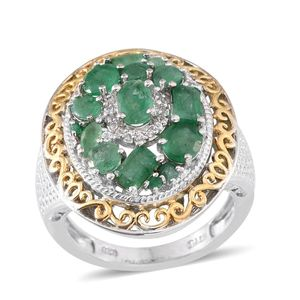 Kagem Zambian Emerald, Brazilian Emerald, White Topaz 14K YG and Platinum Over Sterling Silver Statement Ring (Size 7.0) TGW 2.66 cts.