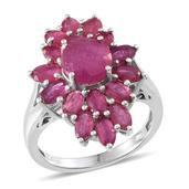 Niassa Ruby Platinum Over Sterling Silver Split Ring (Size 6.0) TGW 7.90 cts.