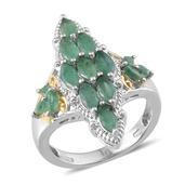 Kagem Zambian Emerald 14K YG and Platinum Over Sterling Silver Ring (Size 8.0) TGW 2.350 cts.
