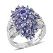 Tanzanite, White Topaz Platinum Over Sterling Silver Statement Split Ring (Size 5.0) TGW 6.940 cts.