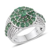 Kagem Zambian Emerald Platinum Over Sterling Silver Ring (Size 6.0) TGW 2.85 cts.