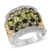 Vesuvianite, White Topaz 14K YG and Platinum Over Sterling Silver Ring (Size 6.0) TGW 6.950 cts.