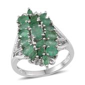 Kagem Zambian Emerald Platinum Over Sterling Silver Ring (Size 5.0) TGW 2.84 cts.