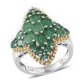 Kagem Zambian Emerald 14K YG and Platinum Over Sterling Silver Ring (Size 5.0) TGW 4.123 cts.
