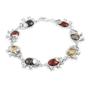 Baltic Multi Color Amber Sterling Silver Linked Elephants Bracelet (7.50 In)