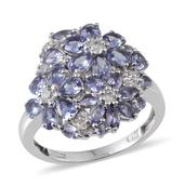 Tanzanite, White Topaz Platinum Over Sterling Silver Ring (Size 5.0) TGW 3.310 cts.