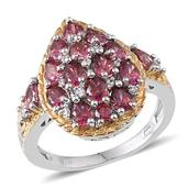 J Francis - Ring in 14K YG and Platinum Overlay Sterling Silver Nickel Free Made with Red and White SWAROVSKI ZIRCONIA (Size 6) TGW 4.32 Cts.
