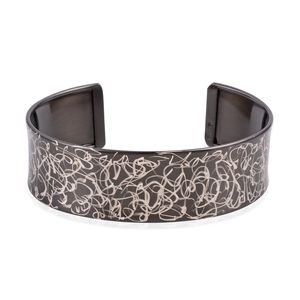 Dall' Italia Black Rhodium Over and Sterling Silver Scratch Art Cuff (12 g)