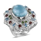 Royal Jaipur Larimar, Multi Gemstone Platinum Over Sterling Silver Statement Ring (Size 7.0) TGW 24.011 cts.