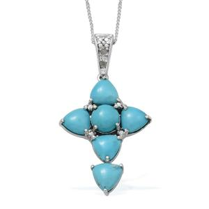 Arizona Sleeping Beauty Turquoise, Diamond Platinum Over Sterling Silver Cross Pendant With Chain (20 in) TDiaWt 0.020Cts., TGW 4.67 Cts.