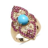 Arizona Sleeping Beauty Turquoise, Ruby 14K YG Over Sterling Silver Ring (Size 6.0) TGW 4.550 cts.