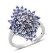 Tanzanite Platinum Over Sterling Silver Ring (Size 8.0) TGW 3.650 cts.