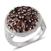 Umba River Zircon, Multi Gemstone Platinum Over Sterling Silver Cluster Ring (Size 7.0) TGW 7.390 cts.