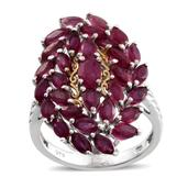 Niassa Ruby 14K YG and Platinum Over Sterling Silver Ring (Size 10.0) TGW 6.870 cts.