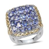 Tanzanite, Diamond 14K YG and Platinum Over Sterling Silver Eye Catching Ring (Size 7.0) TGW 5.75 cts.