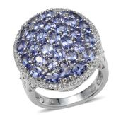 Tanzanite, White Topaz Platinum Over Sterling Silver Cluster Ring (Size 5.0) TGW 8.75 cts.