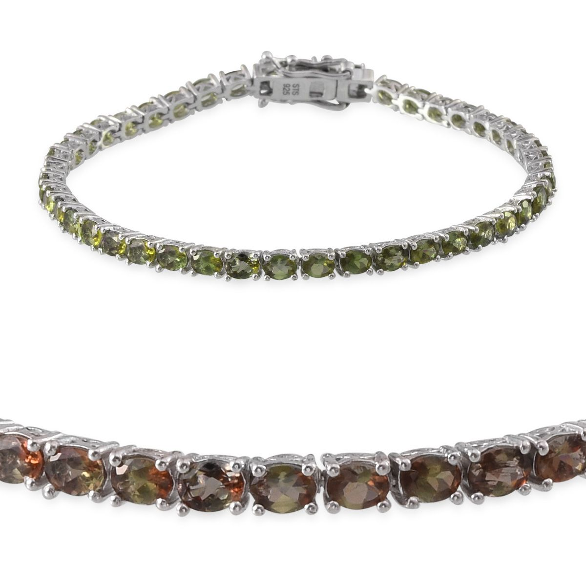 Jenipapo Andalusite Platinum Over Sterling Silver Bracelet (7.50 In) TGW 8.550 cts.