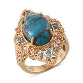 Mojave Blue Turquoise, Malgache Neon Apatite, White Topaz 14K YG Over Sterling Silver Ring (Size 8.0) TGW 10.150 cts.