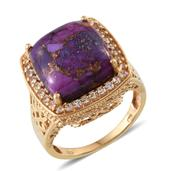 Mojave Purple Turquoise, White Topaz 14K YG Over Sterling Silver Ring (Size 7.0) TGW 14.190 cts.