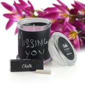 Customizable Chalkboard Scented Candle with Chalk Set Avg Burn Time 38 hours (Bamboo Orchid)