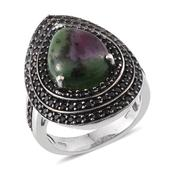 Ruby Zoisite, Thai Black Spinel Platinum Over Sterling Silver Ring (Size 10.0) TGW 12.440 cts.