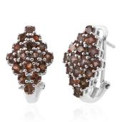 Deepak's Dazzling Deals Jenipapo Andalusite Platinum Over Sterling Silver Omega Clip Earrings TGW 4.48 cts.