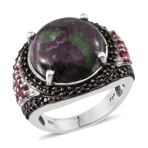 Ruby Zoisite, Thai Black Spinel, Mahenge Pink Spinel Platinum Over Sterling Silver Ring (Size 6.0) TGW 15.60 cts.