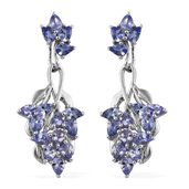 Tanzanite Platinum Over Sterling Silver Dangle Earrings TGW 3.90 cts.