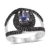 Bondi Blue Tanzanite, Thai Black Spinel Platinum Over Sterling Silver Bold Split Ring (Size 7.0) TGW 3.060 cts.