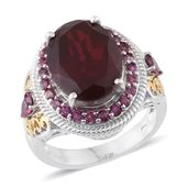 Blazing Red Quartz, Orissa Rhodolite Garnet 14K YG and Platinum Over Sterling Silver Ring (Size 7.0) TGW 11.800 cts.