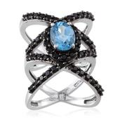 Electric Blue Topaz, Thai Black Spinel Platinum Over Sterling Silver Ring (Size 5.0) TGW 4.250 cts.