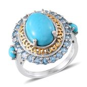 Arizona Sleeping Beauty Turquoise, Electric Blue Topaz 14K YG and Platinum Over Sterling Silver Ring (Size 9.0) TGW 7.380 cts.
