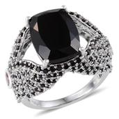 Australian Black Tourmaline, Thai Black Spinel, Niassa Ruby Platinum Over Sterling Silver Ring (Size 6.5) TGW 18.000 cts.
