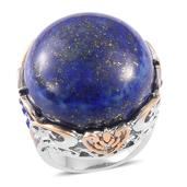 Lapis Lazuli, Blue Austrian Crystal ION Plated YG and Stainless Steel Statement Ring (Size 9.0) TGW 40.000 cts.