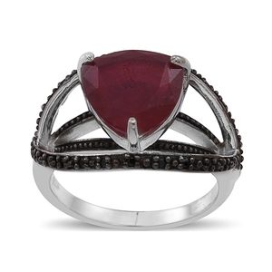 Niassa Ruby, Thai Black Spinel Sterling Silver Open Ring (Size 5.0) TGW 6.350 cts.