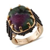 Ruby Zoisite, Thai Black Spinel 14K YG Over Sterling Silver Open Band Ring (Size 7.0) TGW 26.350 cts.