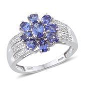 Tanzanite, White Zircon Platinum Over Sterling Silver Ring (Size 7) TGW 2.110 cts.