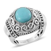 Tribal Collection of India Sonoran Blue Turquoise Sterling Silver Ring (Size 7.0) TGW 4.050 cts.