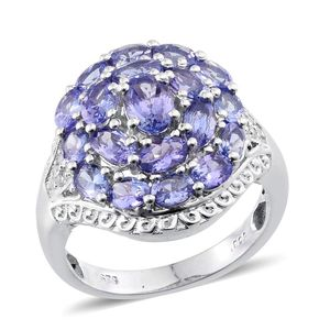 Tanzanite, Diamond Platinum Over Sterling Silver Cluster Ring (Size 10.0) TDiaWt 0.08 cts, TGW 4.93 cts.