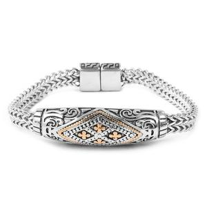 ION Plated YG and Stainless Steel Franco Bracelet (8.00 In)