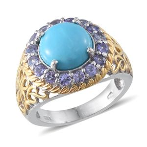Arizona Sleeping Beauty Turquoise, Tanzanite 14K YG and Platinum Over Sterling Silver Leaf Filigree Ring (Size 9.0) TGW 5.30 cts.