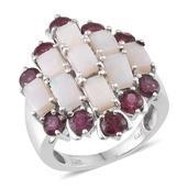 Australian White Opal, Orissa Rhodolite Garnet Platinum Over Sterling Silver Ring (Size 8.0) TGW 7.300 cts.
