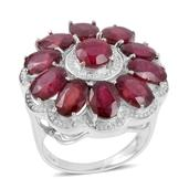Niassa Ruby Sterling Silver Ring (Size 7.5) TGW 12.830 cts.