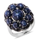 Thai Blue Star Sapphire, Thai Black Spinel Platinum Over Sterling Silver Ring (Size 9.0) TGW 17.870 cts.