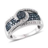 Blue Diamond (IR), Diamond Platinum Over Sterling Silver Bridge Ring (Size 8.0) TDiaWt 1.05 cts, TGW 1.049 cts.