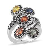 Multi Gemstone Platinum Over Sterling Silver Elongated Bypass Ring (Size 7.0) TGW 5.45 cts.