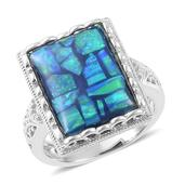 Simulated Opal Sterling Silver Ring (Size 5.0) TGW 4.100 cts.