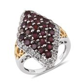 Anthill Garnet, White Topaz 14K YG and Platinum Over Sterling Silver Ring (Size 6.0) TGW 4.270 cts.